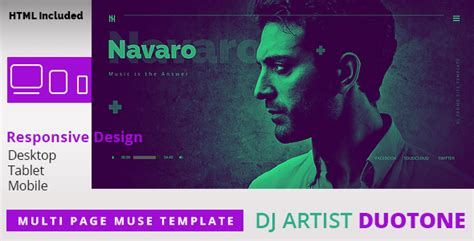live themes with tone dj artist duo tone responsive muse template by k project