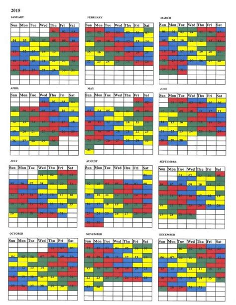shift calendar template firefighter shift calendar 2015 calendar