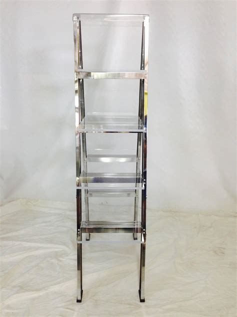 1970s custom chrome ladder and lucite shelf display at 1stdibs