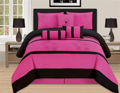 queen pink comforter sets 7 pc luxury queen bed in a bag comforter set pink black ebay