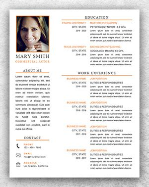 acting resume template word resume template start professional resume templates for word
