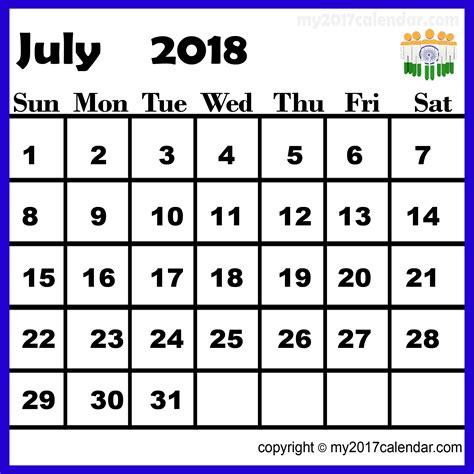Calendar India July 2018 Calendar India Printable Monthly Calendars