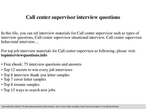 call center supervisor questions