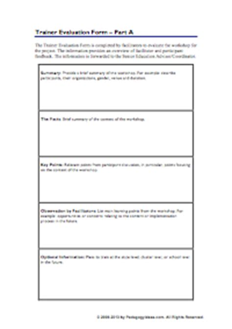 facilitator evaluation form template workshop forms pedagogy ideas