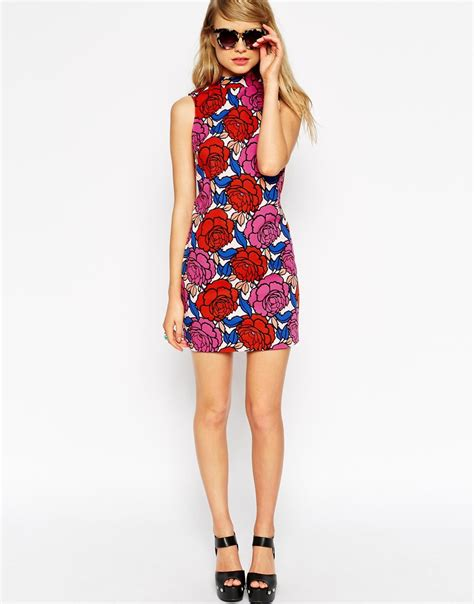 A Printed Neck Dress From Asos by Lyst Asos High Neck Shift Dress In Retro Floral Print