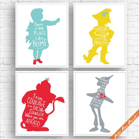 printable wizard of oz quotes wizard of oz quotes set of 4 art print unframed by