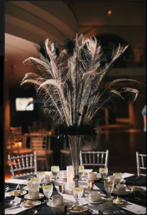 f s peacock feather centerpieces 11 black white