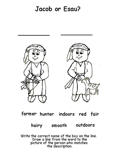 jacob and esau twins coloring page jacob and esau matching activity sparkies ideas
