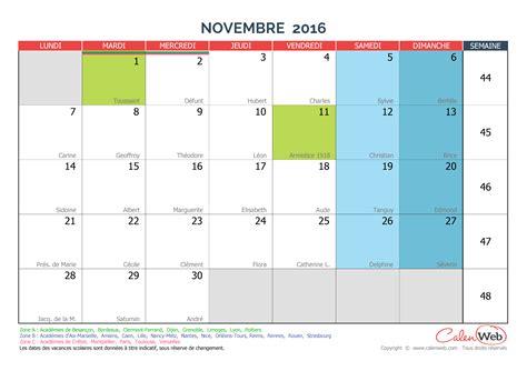 Calendrier 2016 Avec Semaines Et Vacances Calendrier Mensuel Mois De Novembre 2016 Avec F 234 Tes