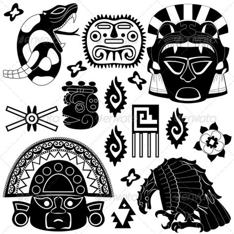 ancient american elements vectors conceptual