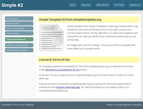 simple homepage template simple website template 2