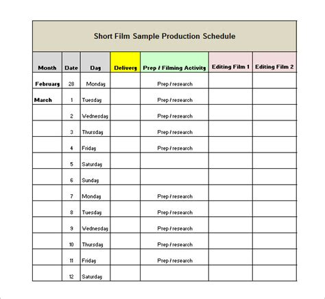 production schedule template 13 free word excel pdf