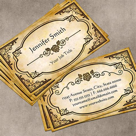 Elegant Antique Medallion Rose With Vintage Frame Business Cards Vintage Card Templates