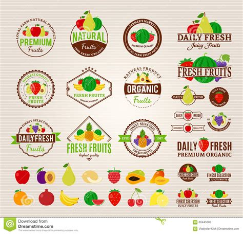 Logo Etiketten by Fruits Logos Labels Fruits Icons And Design Elements