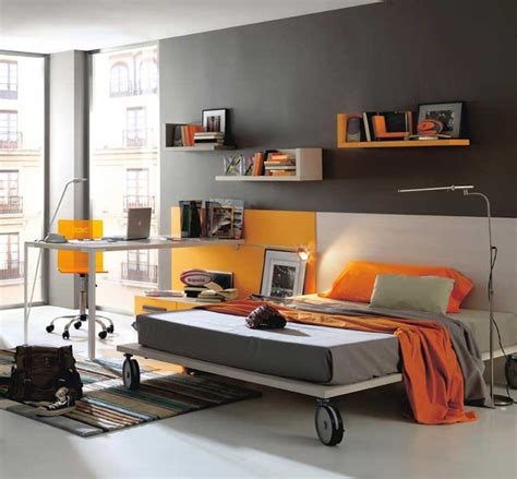 Modern Bedroom Orange Grey And Orange Modern Bedroom Color Interior