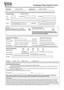 Employee Starter Form Template by Fillable Employee New Starter Form Independent