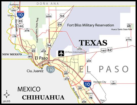 where is el paso texas on the map el paso texas map