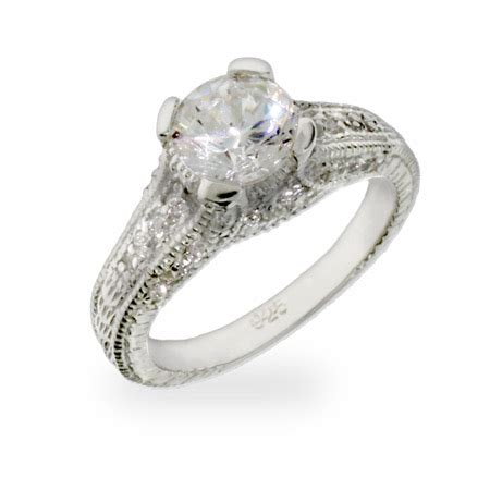 inspired brilliant cut cz engagement ring
