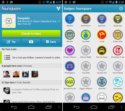 square app for android foursquare for android updated now features nfc support android beam more now