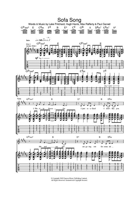 Kooks Sofa Song by The Kooks Sofa Song Sheet Onlinesheetmusic