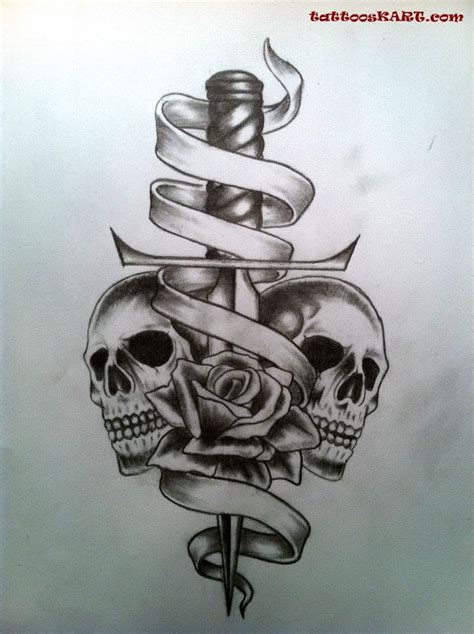 skull and dagger tattoo 35 knife and dagger designs