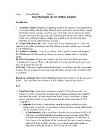 Speech Outline Sles 287 sales speech outline