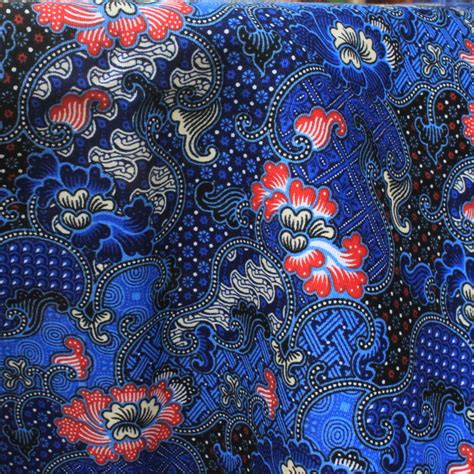 batik fabric pattern blue flowers print thai traditional print thai batik
