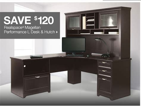 magellan performance collection l desk realspace magellan l shaped desk and hutch realspace