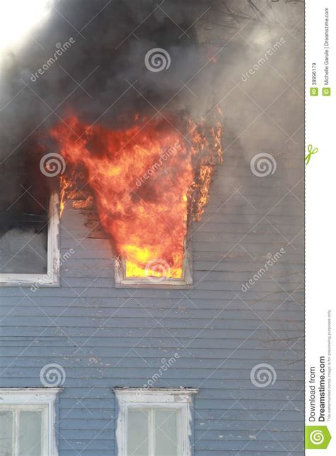 Coming Out Of Fireplace by Window In Flames Stock Photo Image 38996179