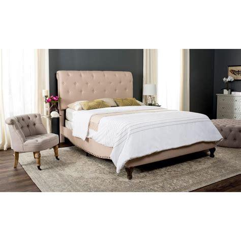 safavieh bed safavieh hathaway light beige queen upholstered bed