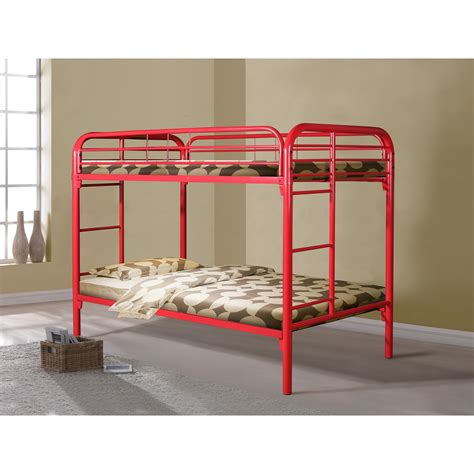bunk beds metal donco twin over twin metal bunk bed in red