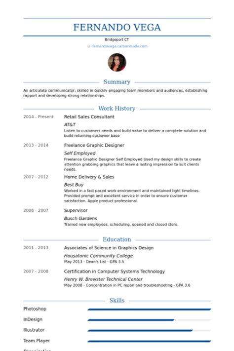 Resume Examples Computer Science by Einzelhandel Verkaufsberater Cv Beispiel Visualcv