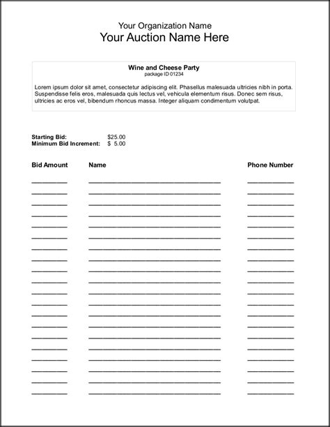 template for silent auction bid sheet silent auction bid sheet template search