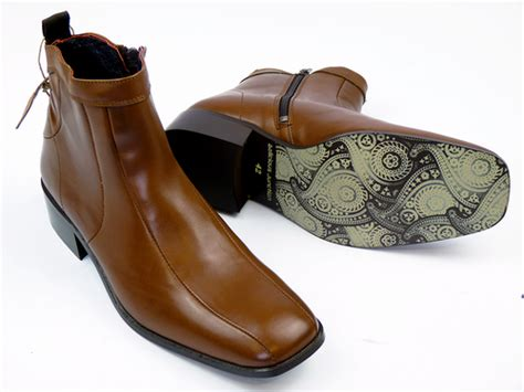 mens stacked heel boots new mod retro delicious junction stacked heel 70s square
