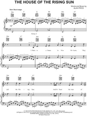 house of the rising sun sheet music piano the animals quot the house of the rising sun quot sheet music download print