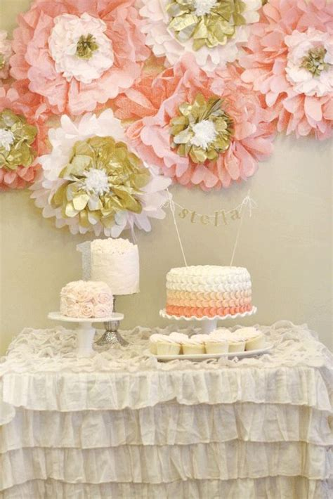 tissue paper flowers used to decorate for a baby shower