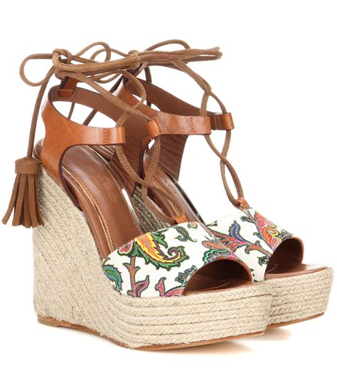 etro leather wedge sandals in brown lyst