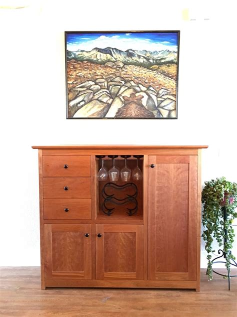 custom cherry quot shaker quot sideboard hutch with winestem rack