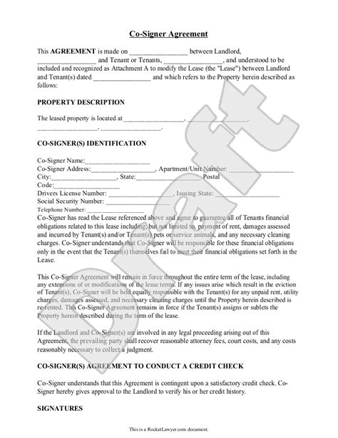 Sle Co Signer Agreement Form Template Rental Forms Pinterest Cosigner Contract Template
