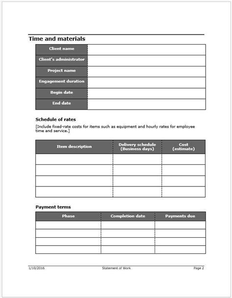Statement Of Work Sow Template Clickstarters It Sow Template
