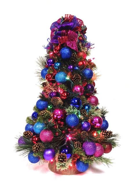 find your joy 24 lighted holiday bow bright table top tree pre lit 24 quot colors with tree topper bow colored lights