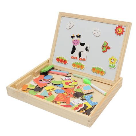 Learning Puzzle educational learning wooden magnetic drawing board