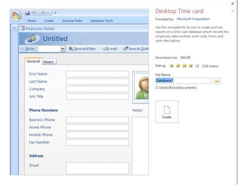 access time card database template employee detail in access 2013