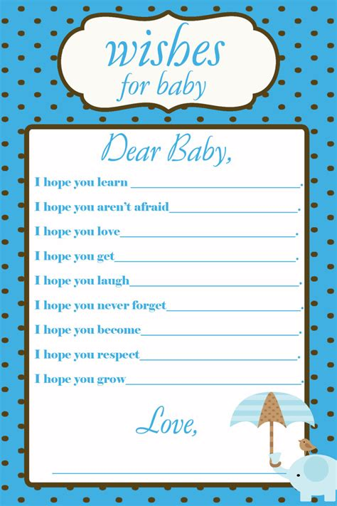 baby wish list template printable wishes for baby baby shower