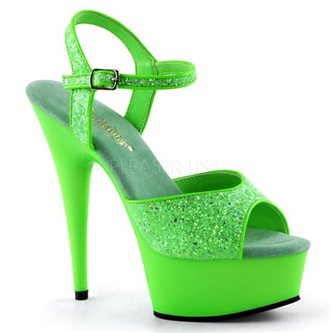 green glitter high heels pleaser uv reactive neon green blacklight platform 6