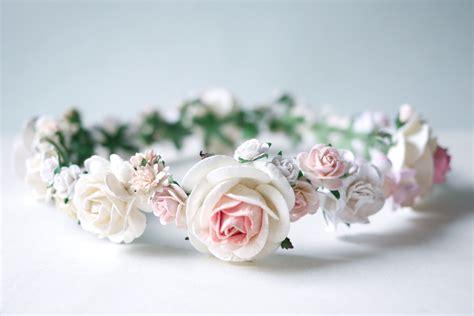 Tiera Pink Soft paper flower crown headband tiaras wedding pink soft