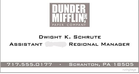 Quot Dwight Schrute Business Card Quot By Ruthykaye Redbubble Mifflin Name Badge Template