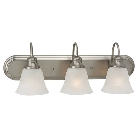 Brushed Nickel Bathroom Lights Shop Sea Gull Lighting 3 Light Windgate Brushed Nickel Bathroom Vanity Light At Lowes