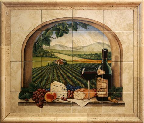 ceramic tile murals for kitchen or barbeque backsplash and
