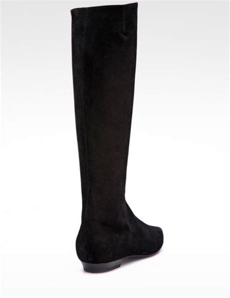 giuseppe zanotti suede flat knee high boots in black lyst